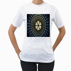 Stained Glass Colorful Glass Women s T-Shirt (White) (Two Sided)