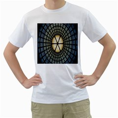 Stained Glass Colorful Glass Men s T-Shirt (White) (Two Sided)