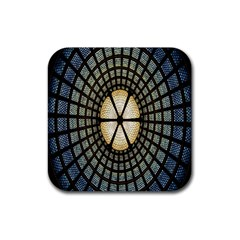 Stained Glass Colorful Glass Rubber Square Coaster (4 pack)