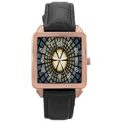 Stained Glass Colorful Glass Rose Gold Leather Watch