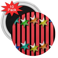 Star Christmas Greeting 3  Magnets (10 pack)