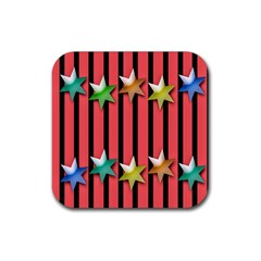 Star Christmas Greeting Rubber Square Coaster (4 pack)