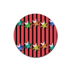 Star Christmas Greeting Rubber Round Coaster (4 pack)