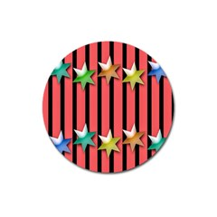Star Christmas Greeting Magnet 3  (Round)