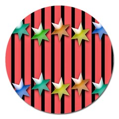 Star Christmas Greeting Magnet 5  (Round)