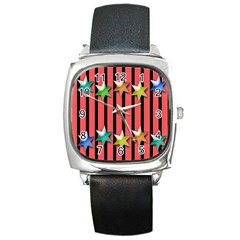 Star Christmas Greeting Square Metal Watch