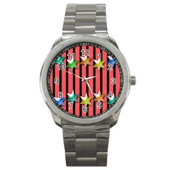 Star Christmas Greeting Sport Metal Watch