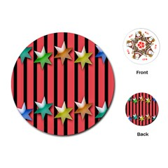 Star Christmas Greeting Playing Cards (Round)