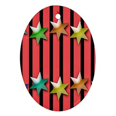 Star Christmas Greeting Oval Ornament (Two Sides)