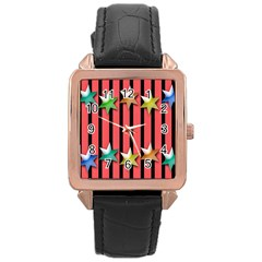 Star Christmas Greeting Rose Gold Leather Watch
