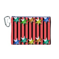 Star Christmas Greeting Canvas Cosmetic Bag (m)