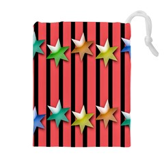 Star Christmas Greeting Drawstring Pouches (Extra Large)