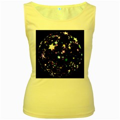 Star Ball About Pile Christmas Women s Yellow Tank Top