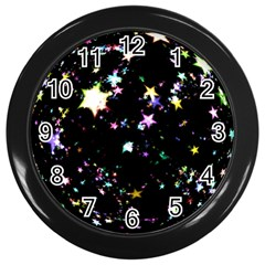 Star Ball About Pile Christmas Wall Clocks (Black)