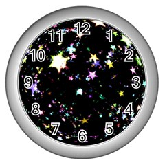 Star Ball About Pile Christmas Wall Clocks (Silver)