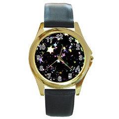 Star Ball About Pile Christmas Round Gold Metal Watch