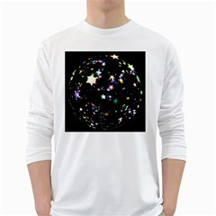 Star Ball About Pile Christmas White Long Sleeve T Shirts