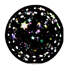 Star Ball About Pile Christmas Round Filigree Ornament (Two Sides)