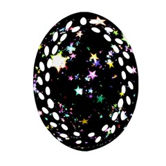 Star Ball About Pile Christmas Oval Filigree Ornament (two Sides)