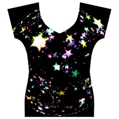 Star Ball About Pile Christmas Women s V-Neck Cap Sleeve Top