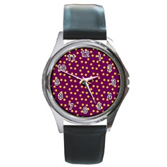 Star Christmas Red Yellow Round Metal Watch