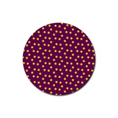 Star Christmas Red Yellow Rubber Round Coaster (4 pack)