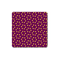Star Christmas Red Yellow Square Magnet