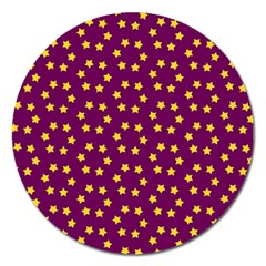 Star Christmas Red Yellow Magnet 5  (Round)