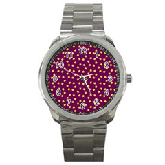Star Christmas Red Yellow Sport Metal Watch