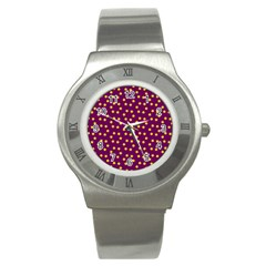 Star Christmas Red Yellow Stainless Steel Watch