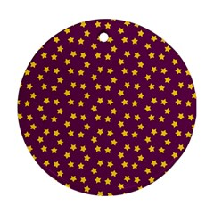 Star Christmas Red Yellow Round Ornament (Two Sides)