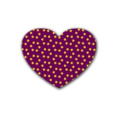 Star Christmas Red Yellow Rubber Coaster (Heart)