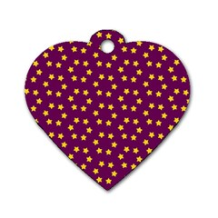 Star Christmas Red Yellow Dog Tag Heart (one Side)