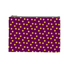 Star Christmas Red Yellow Cosmetic Bag (Large)