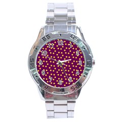 Star Christmas Red Yellow Stainless Steel Analogue Watch