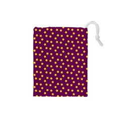 Star Christmas Red Yellow Drawstring Pouches (Small)