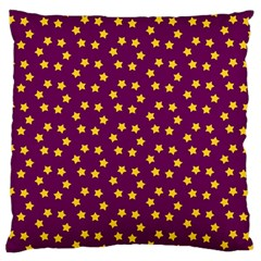 Star Christmas Red Yellow Large Flano Cushion Case (one Side)