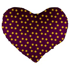 Star Christmas Red Yellow Large 19  Premium Flano Heart Shape Cushions