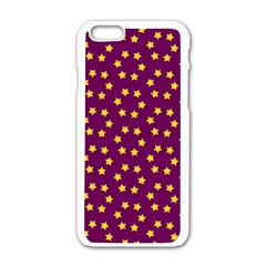 Star Christmas Red Yellow Apple iPhone 6/6S White Enamel Case
