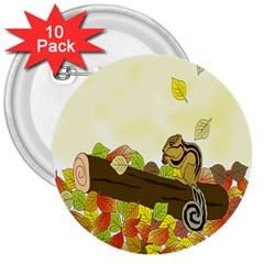 Squirrel 3  Buttons (10 Pack)