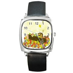 Squirrel Square Metal Watch