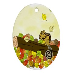 Squirrel Oval Ornament (Two Sides)