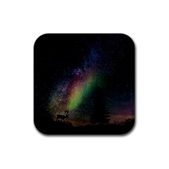 Starry Sky Galaxy Star Milky Way Rubber Square Coaster (4 pack)
