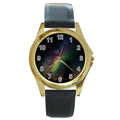 Starry Sky Galaxy Star Milky Way Round Gold Metal Watch
