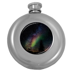 Starry Sky Galaxy Star Milky Way Round Hip Flask (5 oz)