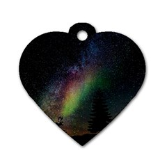 Starry Sky Galaxy Star Milky Way Dog Tag Heart (Two Sides)