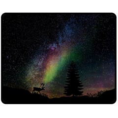 Starry Sky Galaxy Star Milky Way Double Sided Fleece Blanket (Medium)