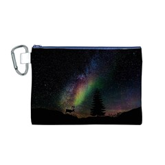 Starry Sky Galaxy Star Milky Way Canvas Cosmetic Bag (m)