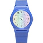 The Background Wallpaper Mosaic Round Plastic Sport Watch (S) Front
