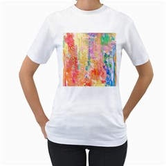 Watercolour Watercolor Paint Ink  Women s T-Shirt (White) (Two Sided)